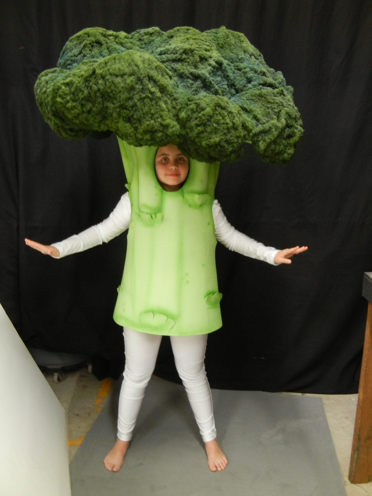 Large Head Broccoli Mascot
