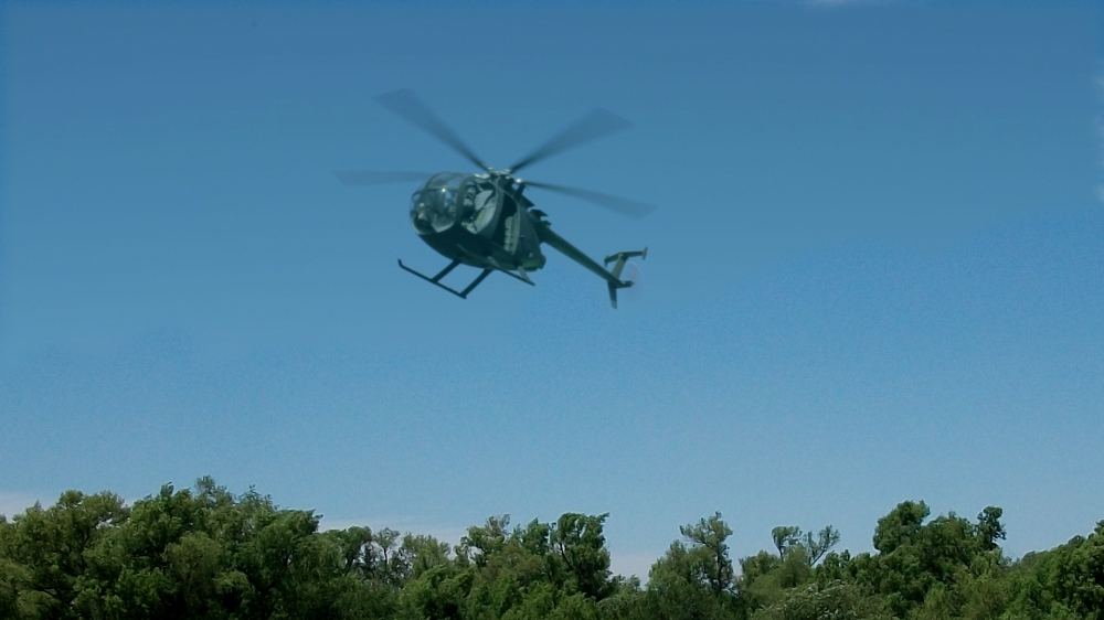 Composite Miniature Green Screen Helicopter Flight
