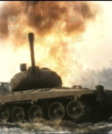 Tank take fir from aerial rockets