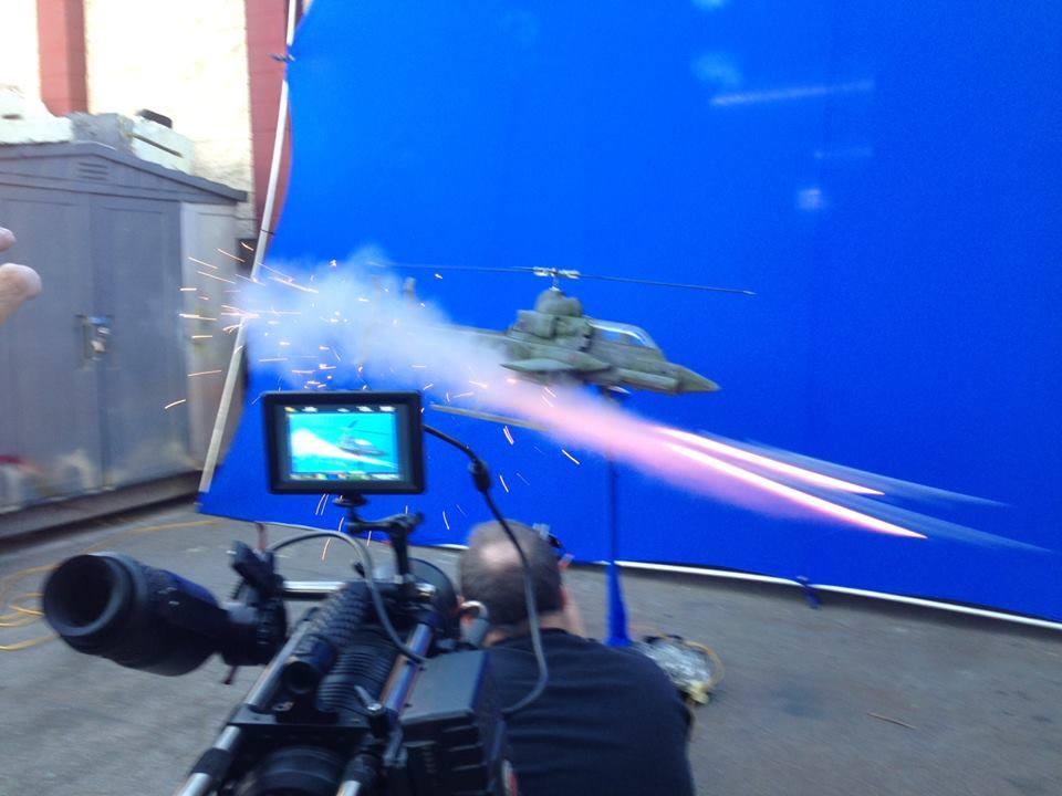 Gunship firing a missile